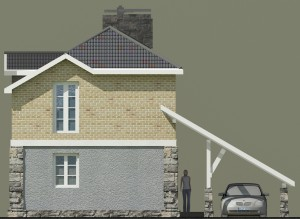 Фасад, проект дома для узких участков Нарва-150