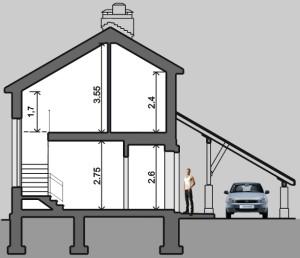 Разрез, проект дома для узких участков Нарва-150