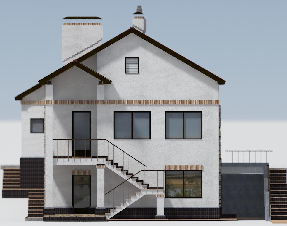 Дворовой фасад, проект Ворскла - Проект дома на склоне