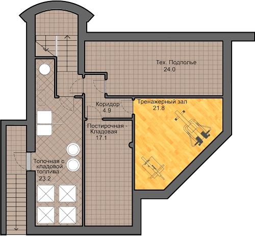 план подвала, проект Сиверка - проект дома с плоской эксплуатируемой кровлей, панорамными окнами и террасами