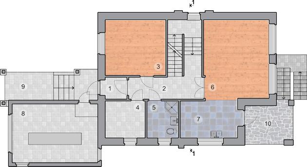 План первого этажа, проект Ворскла - Проект дома на склоне