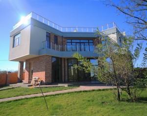 проект дома с плоской кровлей панорамными окнами Эбро-400