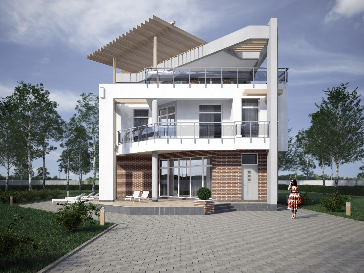 проект Парма-240 - проект дома с плоской эксплуатируемой кровлей, панорамными окнами и террасами