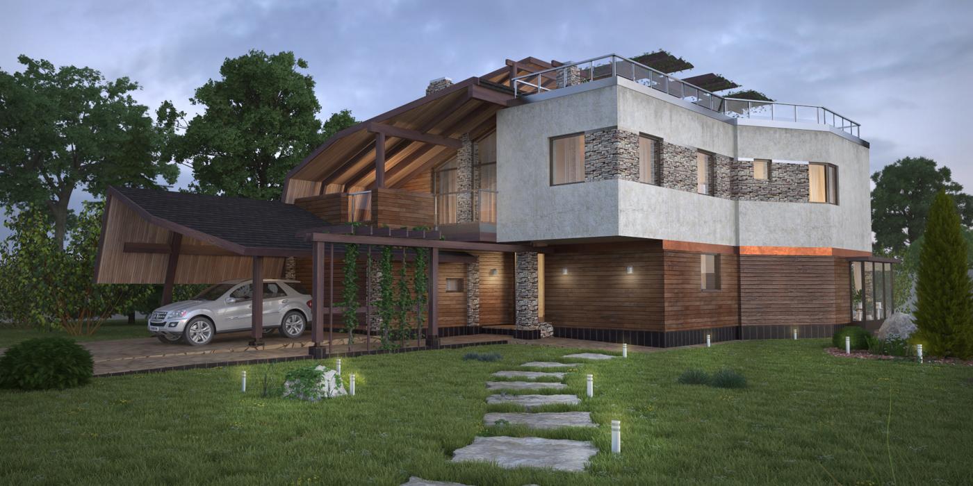 Входной фасад, проект Ниагара - проект дома с плоской эксплуатируемой кровлей, панорамными окнами и террасами