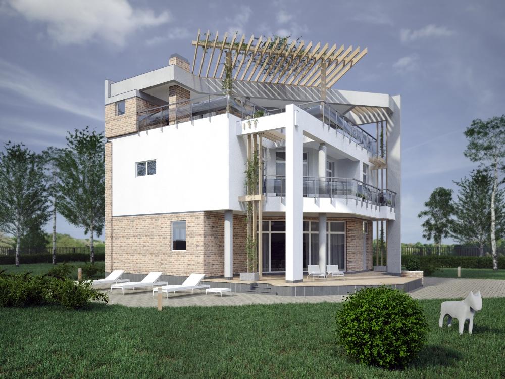 Внешний вид 2, проект Парма-240 - проект дома с плоской эксплуатируемой кровлей, панорамными окнами и террасами