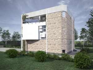 External view, Parma-240 project - a home project with a flat exploited roof, panoramic windows and terraces