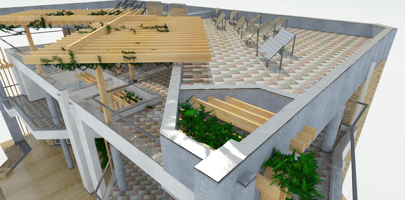 Вид сверху, солнечные коллектора на крыше, проект Парма-240-D - проект дома дуплекс с плоской эксплуатируемой кровлей, панорамными окнами и террасами