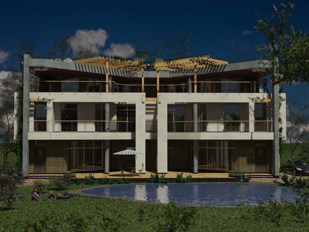 Фасад, проект Парма-240D - проект дома дуплекс с плоской эксплуатируемой кровлей, панорамными окнами и террасами