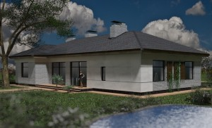 External view, one-storey house with panoramic windows project