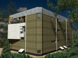 External view, Parma-240-D project - a home project with a flat exploited roof, panoramic windows and terraces