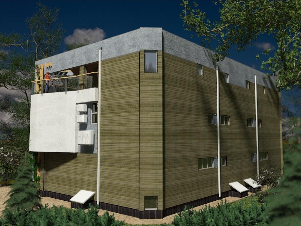 Проект Парма-240D - проект дома дуплекс с плоской эксплуатируемой кровлей, панорамными окнами и террасами