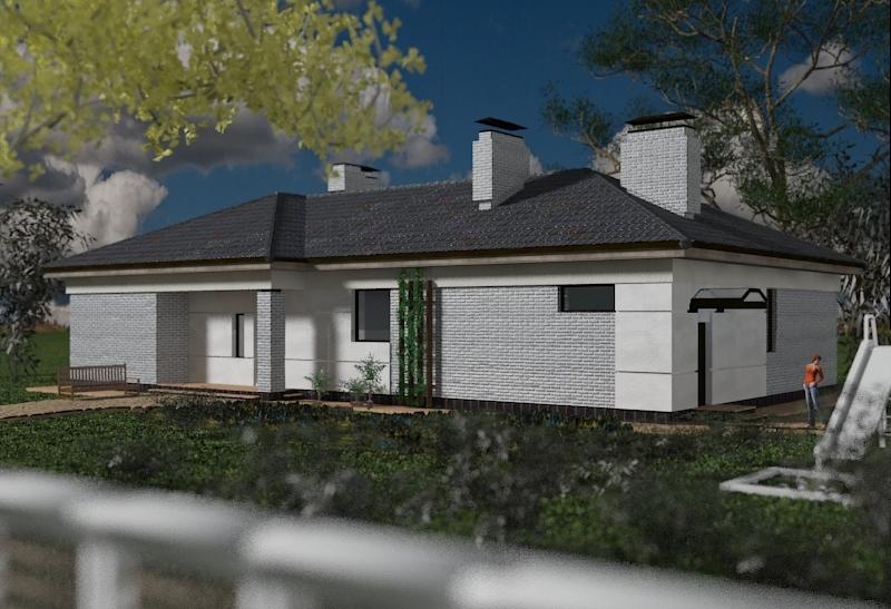 Внешний вид, Проект Даугава; одноэтажный дом с панорамными окнами