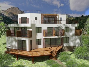 External view, Сhemal project - a mini-hotel project with a flat exploited roof, panoramic windows and terraces
