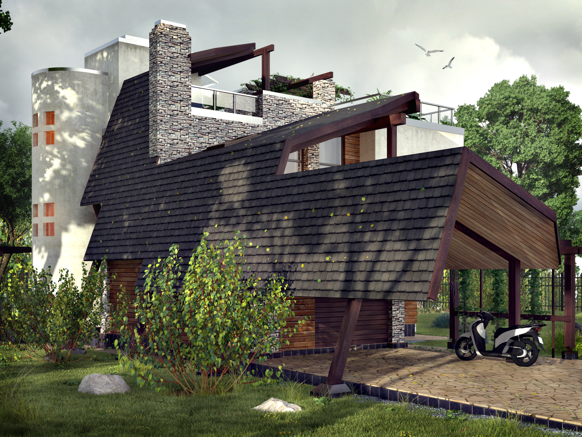 проект Ниагара - проект дома с плоской эксплуатируемой кровлей, панорамными окнами и террасами