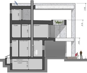 House in section, Parma-240 project - a home project with a flat exploited roof, panoramic windows and terraces