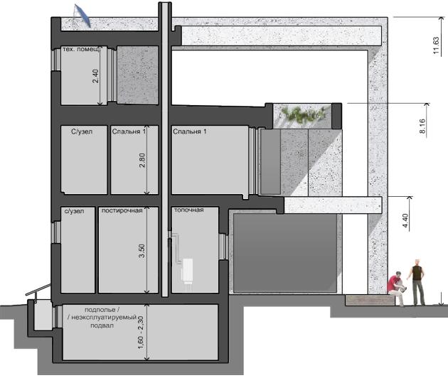 Дом в разрезе, проект Парма-240 - проект дома с плоской эксплуатируемой кровлей, панорамными окнами и террасами