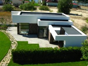 Проект дома с плоской кровлей, неэксплуатируемая кровля, здание бассейна