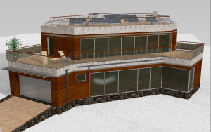 External view, Atran project - a home project with a flat exploited roof, panoramic windows and terraces