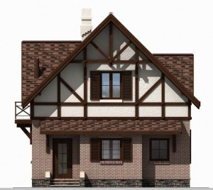 Проект двухэтажного современного дома в фахверковом стиле