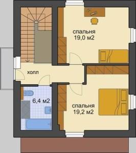 планировка проекта Верра-110. Проект двухэтажного современного дома в фахверковом стиле