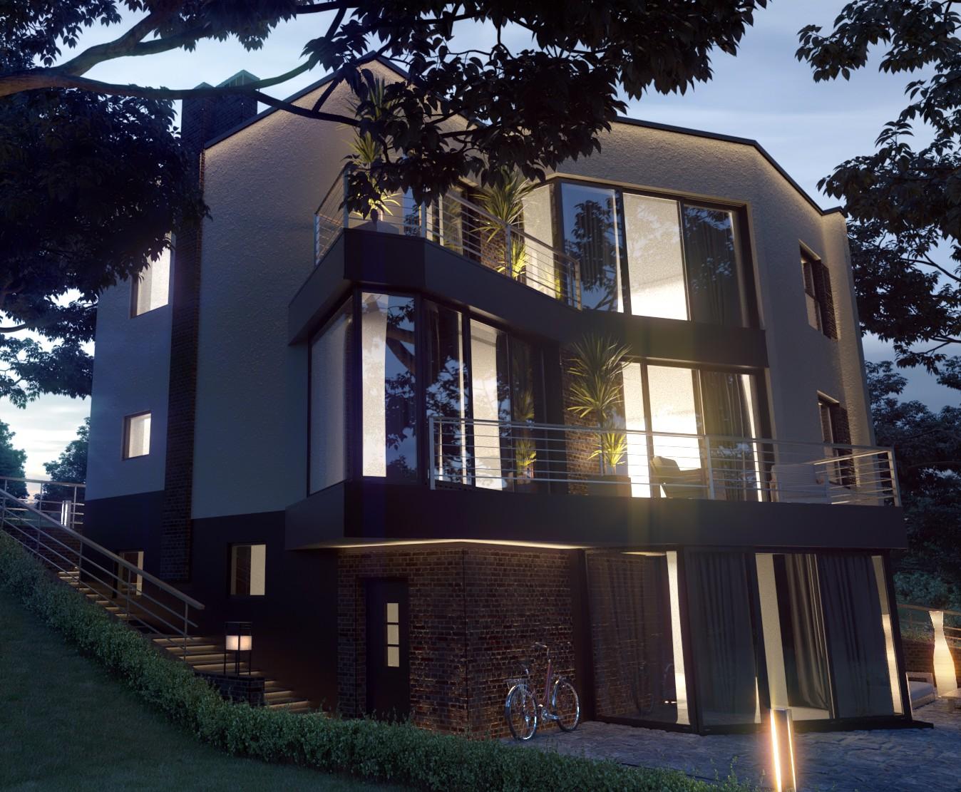 Северн - проект дома с плоской кровлей и террасами на склоне