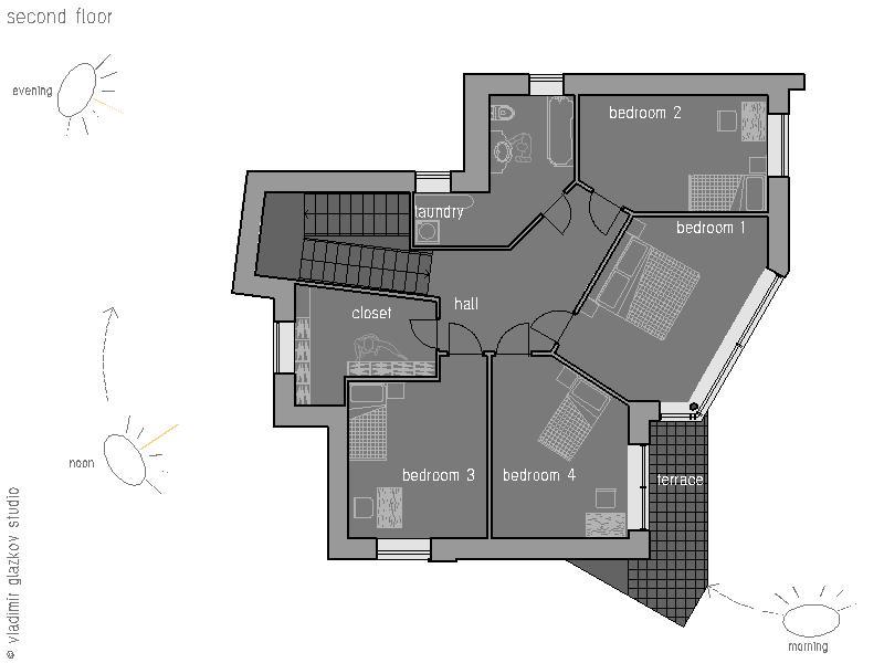 План второго этажа; Северн - проект дома с плоской кровлей и террасами на склоне