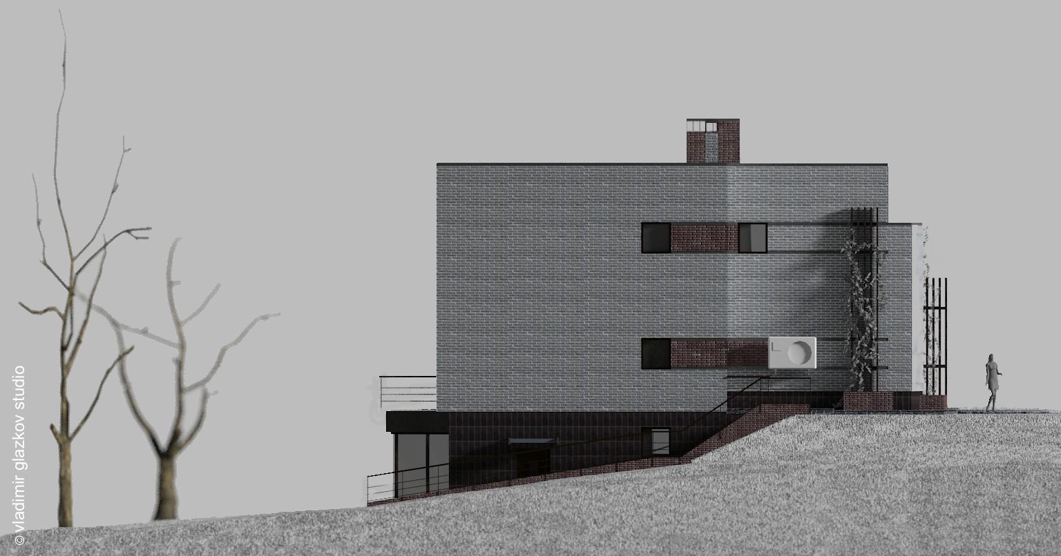 Боковой фасад; вариант отделки 1; Северн - проект дома с плоской кровлей и террасами на склоне