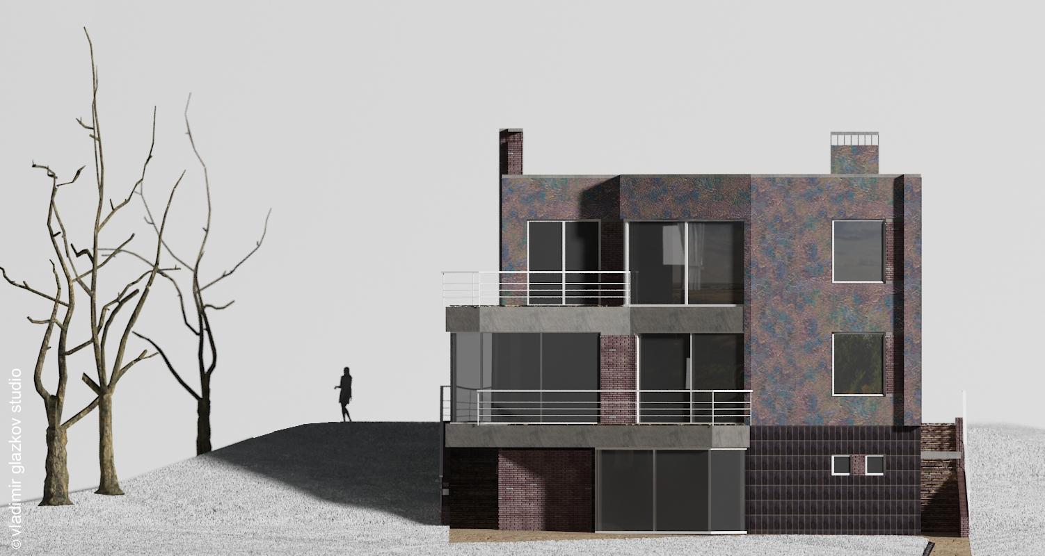 Дворовой фасад; вариант отделки 3; Северн - проект дома с плоской кровлей и террасами на склоне