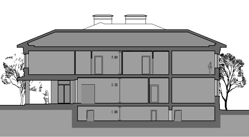 A7 house project in classical style - section