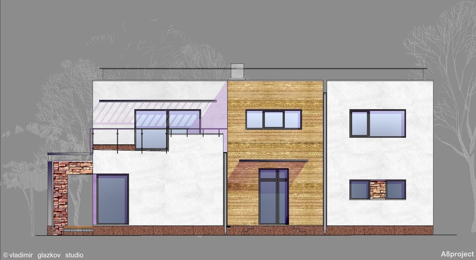 Проект дома с плоской кровлей, террасами и панорамными окнами - проект А8, фасад 1