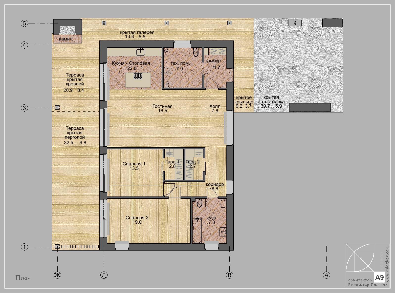 А9 - Проект одноэтажного современного дома с плоской кровлей, панорамными окнами, навесом и террасой - план
