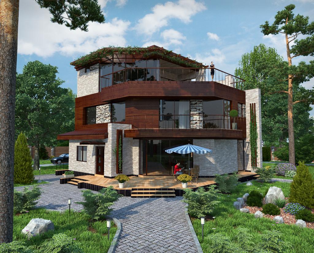 Проекты домов с плоской крышей Сиверка - современный проект дома с плоской эксплуатируемой крышей