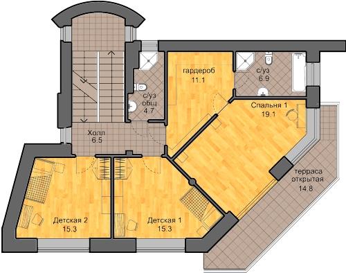 план второго этажа, проект Сиверка - проект дома с плоской эксплуатируемой кровлей, панорамными окнами и террасами