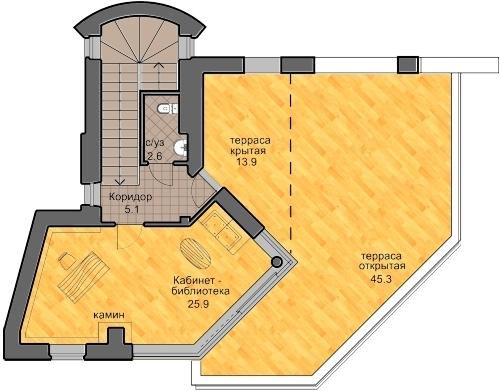 план третьего этажа, проект Сиверка - проект дома с плоской эксплуатируемой кровлей, панорамными окнами и террасами