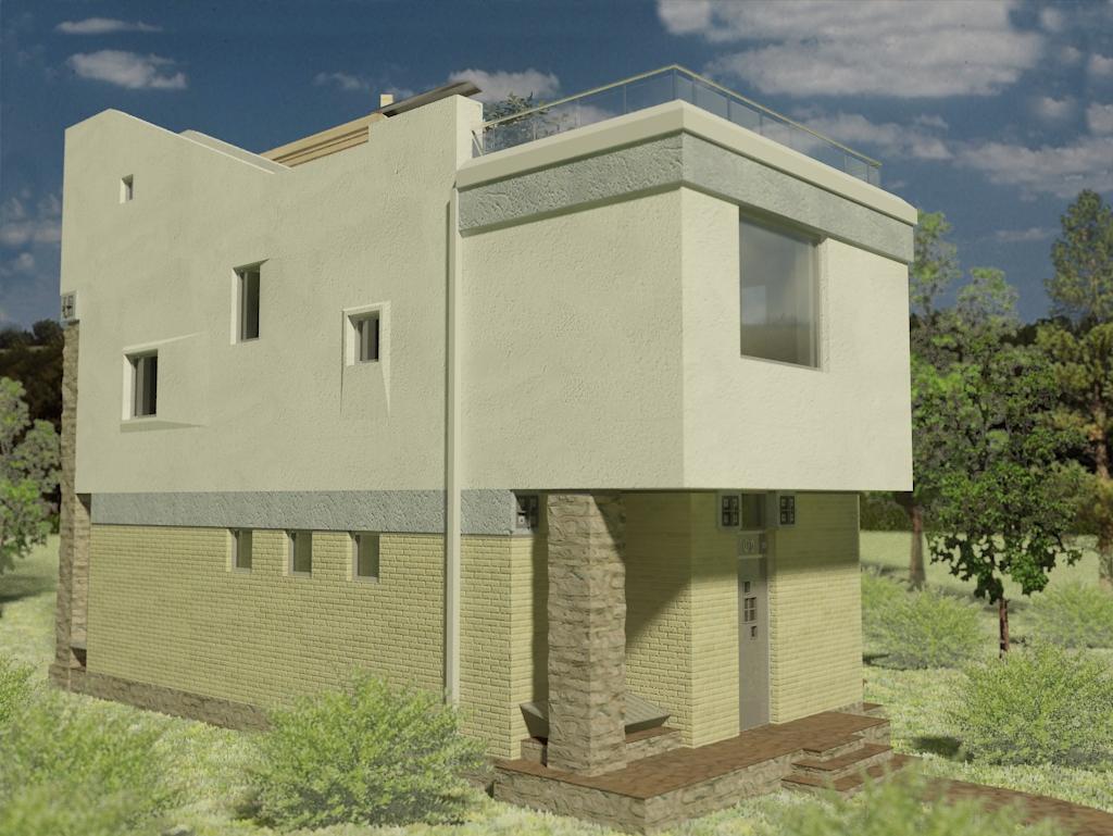 проект дома с плоской кровлей панорамными окнами Эбро-400, вид 2