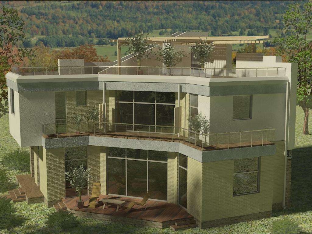 проект дома в современном стиле с плоской кровлей и панорамными окнами Эбро-400, вид 5
