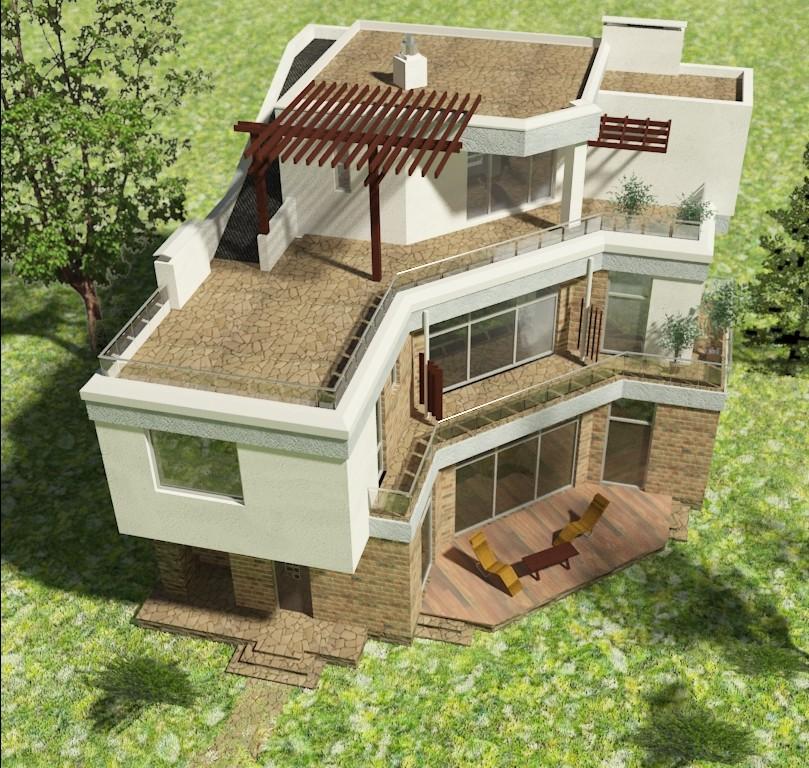 проект жилого дома с плоской эксплуатируемой кровлей и террасами Эбро-320. Вид