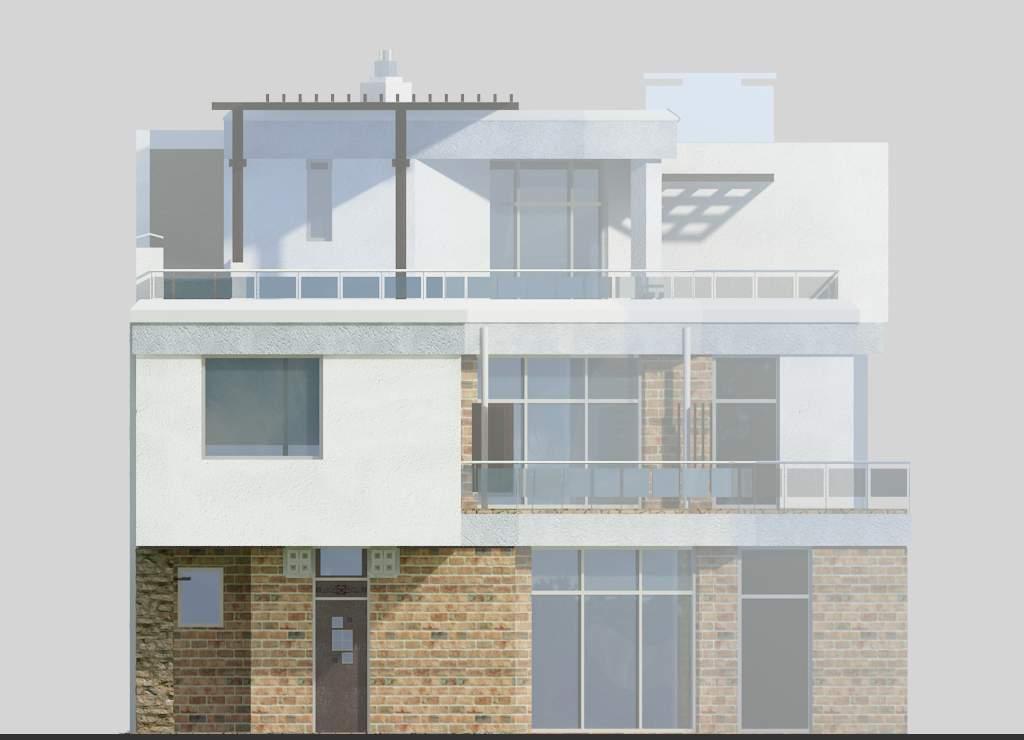 проект дома с плоской эксплуатируемой кровлей Эбро-320, фасад 2