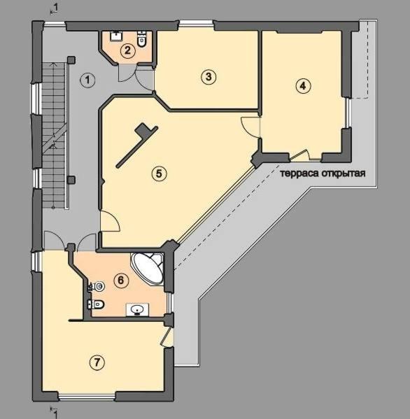 проект жилого дома с плоской эксплуатируемой кровлей и террасами Эбро-320, план 2 этажа