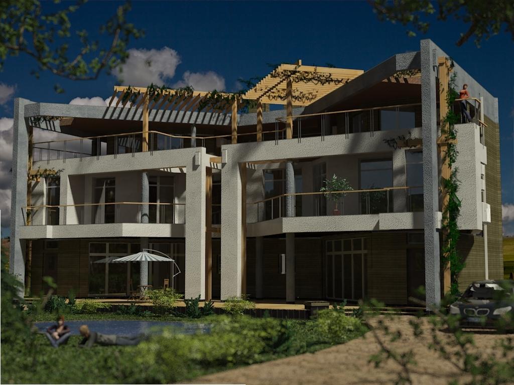 Проекты домов с плоской крышей проект Парма-240D - проект современного дома-дуплекс с плоской эксплуатируемой крышей, панорамными окнами и террасами