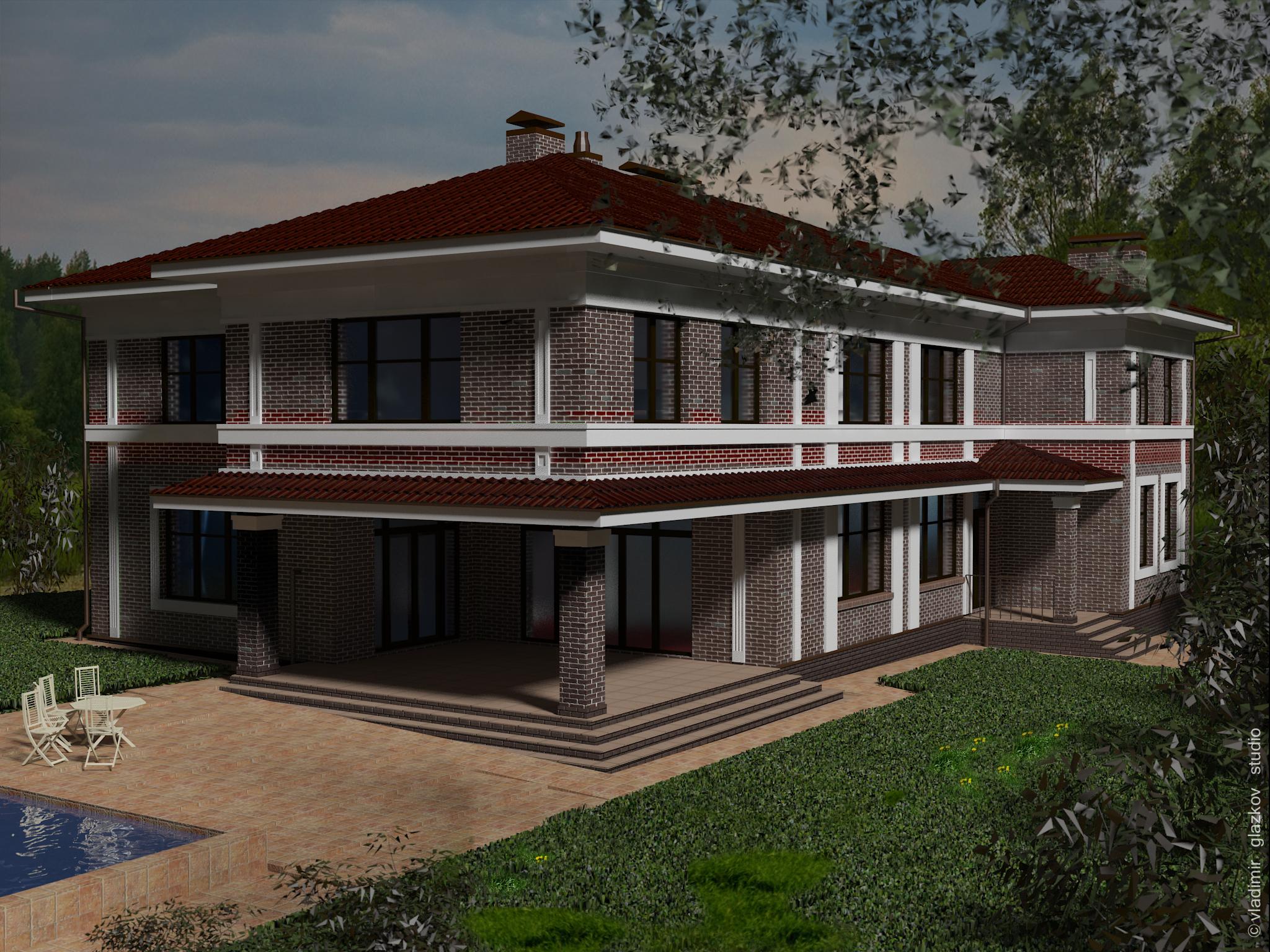 Проект А7 – дом под Киевом, в смеси стилей английской классики с легким призвуком домов Райта