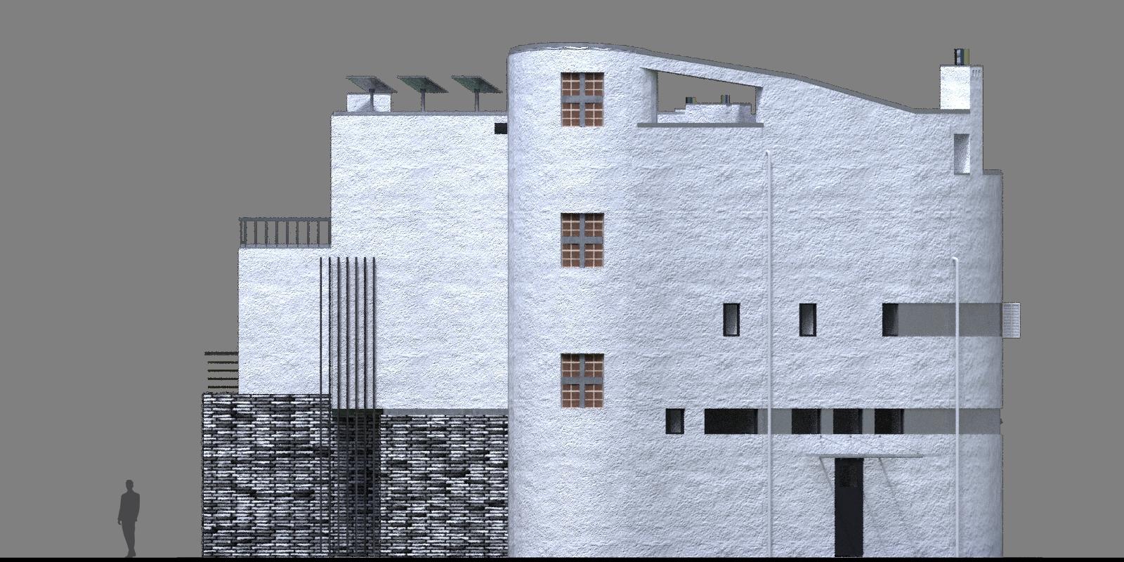 проект дома с плоской кровлей, панорамными окнами и террасами - проект Эбро, фасад