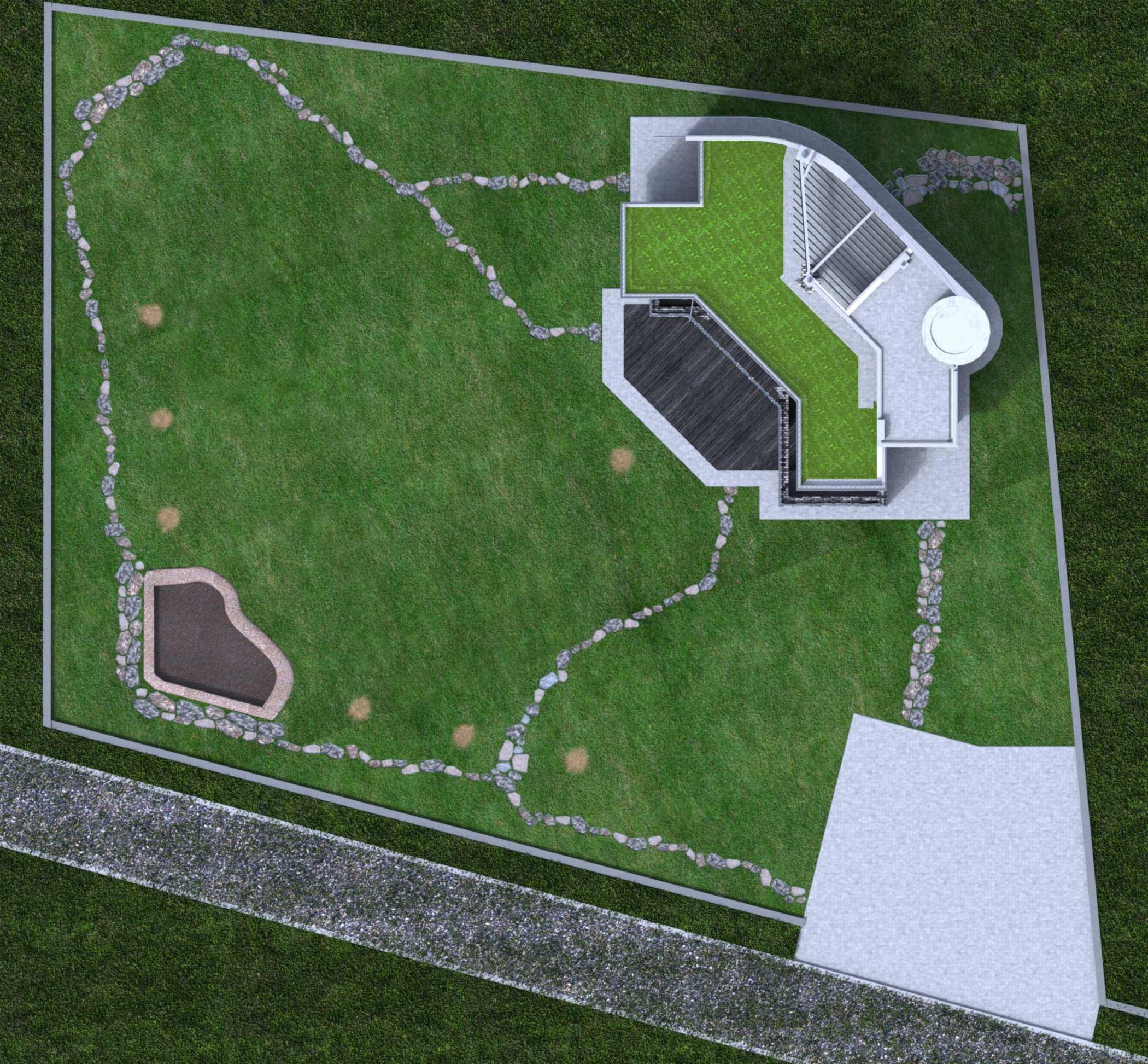 Projekt domu z płaskim dachem, panoramicznymi oknami i tarasami - projekt Ebro, zakwaterowanie na działce