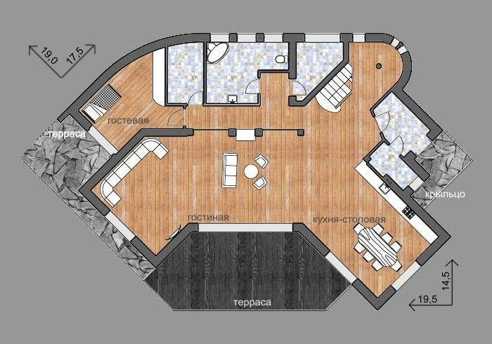 План 1 этажа, проект Эбро - проект дома c плоской зеленой кровлей, террасами и панорамными окнами