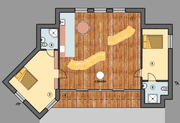 планировка проекта Шэннон; одноэтажный дом с плоской крышей и панорамными окнами