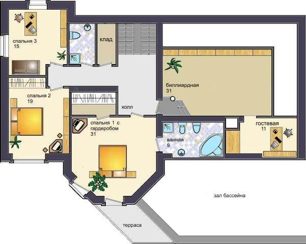 проект Днепр - проект дома с бассейном и террасами, план