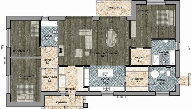 Проект одноэтажного современного дома план