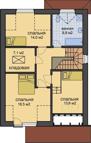 План 2 этажа, проект дома для узких участков Днестр-150