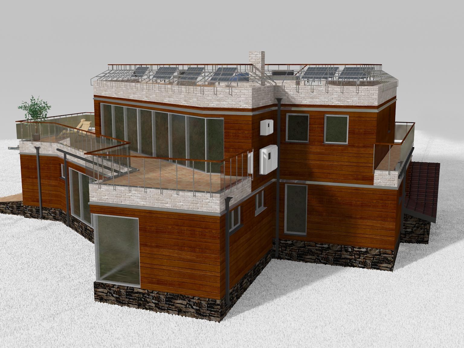Проект дома с плоской кровлей, террасами и панорамными окнами - проект Этран