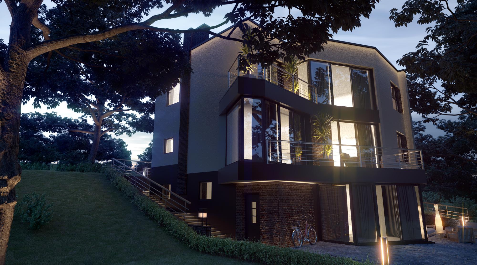 Внешний вид; Северн - проект дома с плоской кровлей и террасами на склоне
